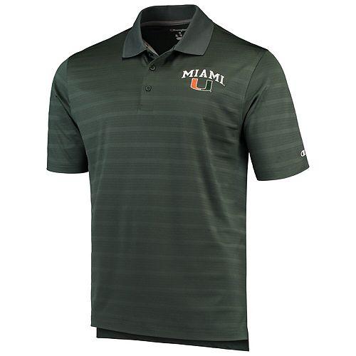 Men's Champion Green Miami Hurricanes Textured Polo