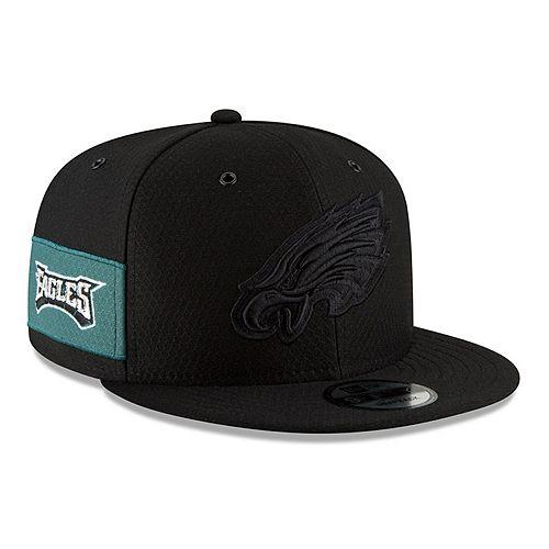 Men's New Era Black Philadelphia Eagles 2018 NFL Sideline Color Rush Official 9FIFTY Snapback Adjustable Hat