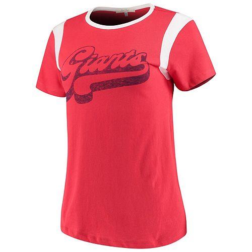 Women's Junk Food Red/White New York Giants Retro Sport T-Shirt