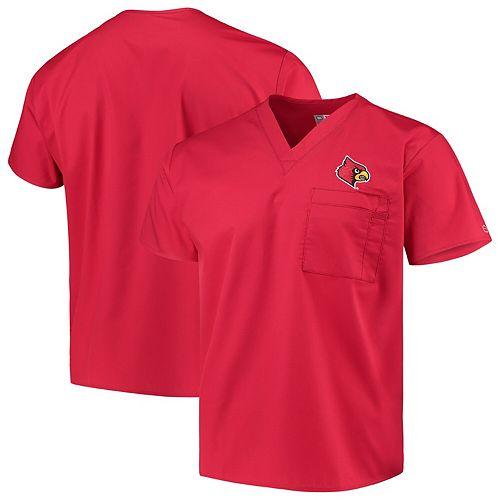Red Louisville Cardinals V-Neck Scrub Top