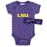 Girls Newborn & Infant Purple LSU Tigers Hearts Bodysuit and Headband Set