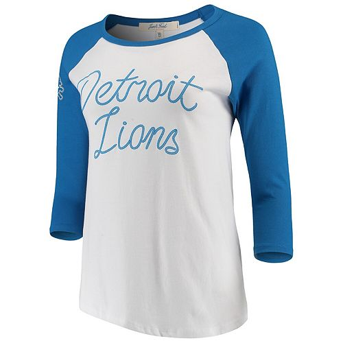Women's Junk Food White/Blue Detroit Lions Retro Script Raglan 3/4-Sleeve T-Shirt