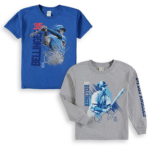 Youth Cody Bellinger Royal/Gray Los Angeles Dodgers Splash Player Graphic 2-Pack T-Shirt Set