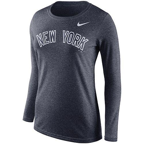 Heathered Navy Nike New York Yankees Womens Sleeve Stripes Tri-Blend T-Shirt