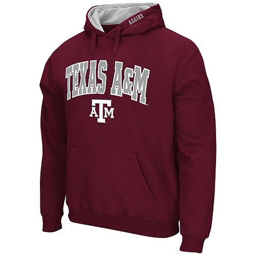 Men's Colosseum Maroon Texas A&M Aggies Arch & Logo Tackle Twill Pullover Hoodie