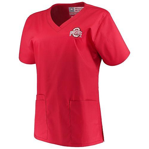 Women's Scarlet Ohio State Buckeyes V-Neck Scrub Top