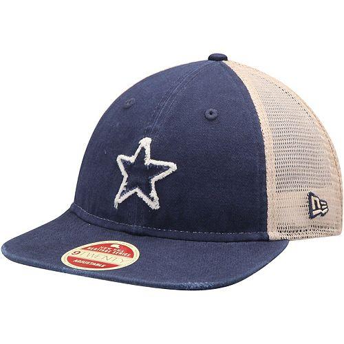 Men's New Era Navy/Natural Dallas Cowboys Frayed Twill 2 9TWENTY Adjustable Hat