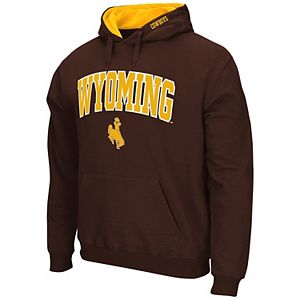 Men's Colosseum Brown Wyoming Cowboys Arch & Logo Tackle Twill Pullover Hoodie