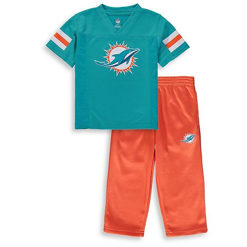 Toddler Aqua/Orange Miami Dolphins Training Camp Pants & T-Shirt Set