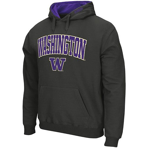 Men's Colosseum Charcoal Washington Huskies Arch & Logo Tackle Twill Pullover Hoodie