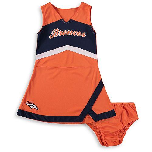 Girls Infant Orange/Navy Denver Broncos Cheer Captain Jumper Dress