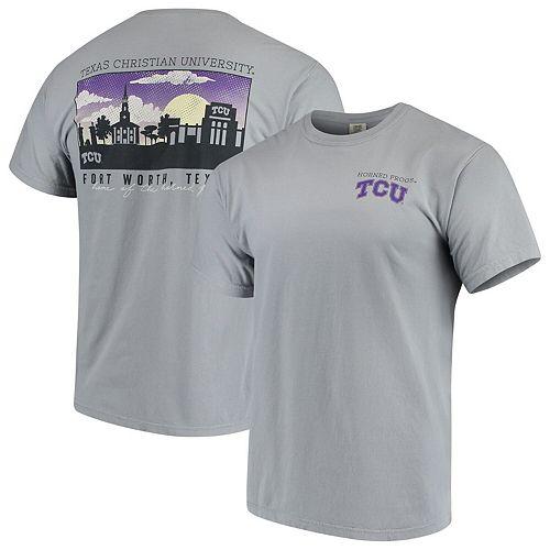 Men's Gray TCU Horned Frogs Team Comfort Colors Campus Scenery T-Shirt