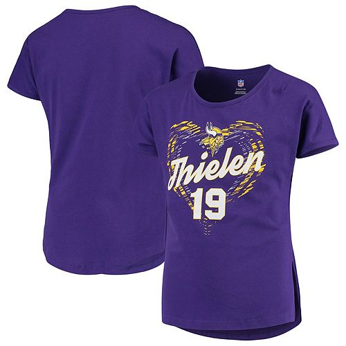 sports shoes 70b9b b435f Girls Youth Adam Thielen Purple Minnesota Vikings Sonic Heart Player Name &  Number Dolman T-Shirt