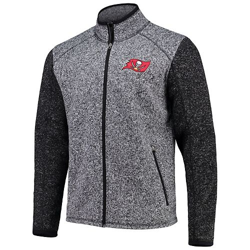 Men's G-III Sports by Carl Banks Heathered Charcoal Tampa Bay Buccaneers Alpine Zone Sweater Fleece Full-Zip Jacket