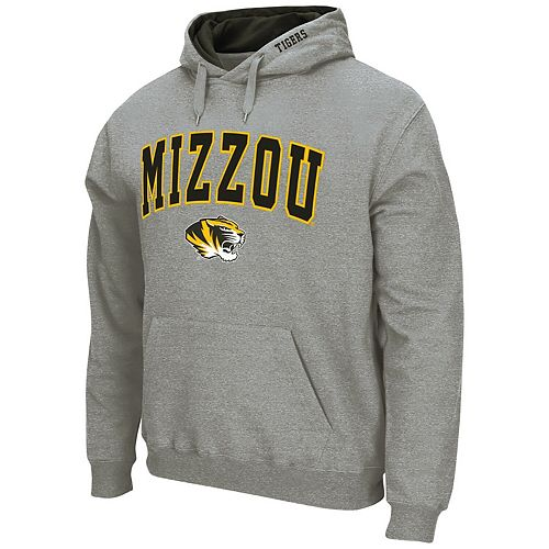 Men's Colosseum Heathered Gray Missouri Tigers Arch & Logo Pullover Hoodie