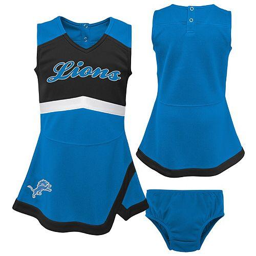 Girls Toddler Blue/Black Detroit Lions Cheer Captain Jumper Dress