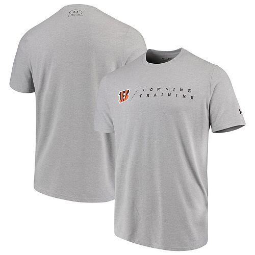 Men's Under Armour Heathered Gray Cincinnati Bengals Combine Authentic Team Logo Training Tri-Blend Performance T-Shirt