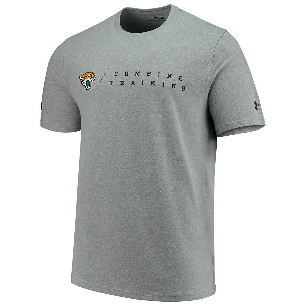 Men's Under Armour Heathered Gray Jacksonville Jaguars Combine Authentic Team Logo Training Tri-Blend Performance T-Shirt