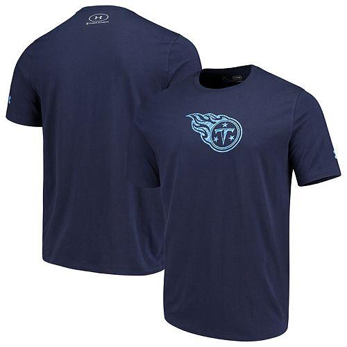 Men's Under Armour Navy Tennessee Titans Combine Authentic Dot Logo Performance Tri-Blend T-Shirt
