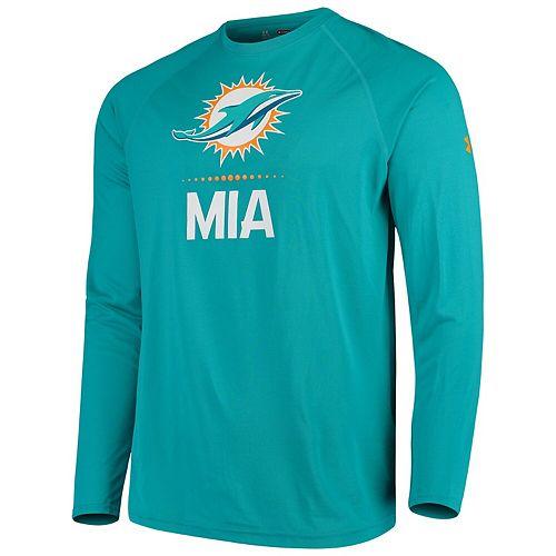 Men's Under Armour Aqua Miami Dolphins Combine Authentic Lockup Performance Long Sleeve T-Shirt