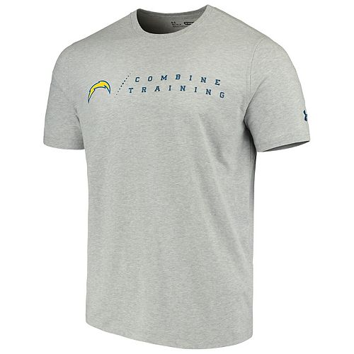 Men's Under Armour Heathered Gray Los Angeles Chargers Combine Authentic Team Logo Training Tri-Blend Performance T-Shirt