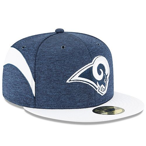 Men's New Era Navy/White Los Angeles Rams 2018 NFL Sideline Home Official 59FIFTY Fitted Hat