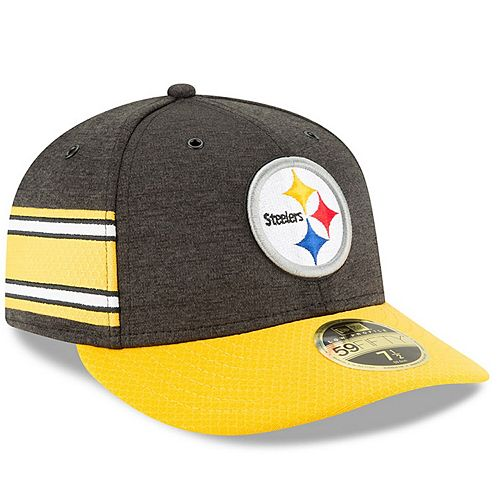 Men's New Era Black/Gold Pittsburgh Steelers 2018 NFL Sideline Home Official Low Profile 59FIFTY Fitted Hat