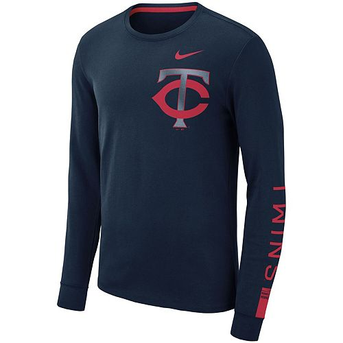 Men's Nike Navy Minnesota Twins Heavyweight Long Sleeve T-Shirt