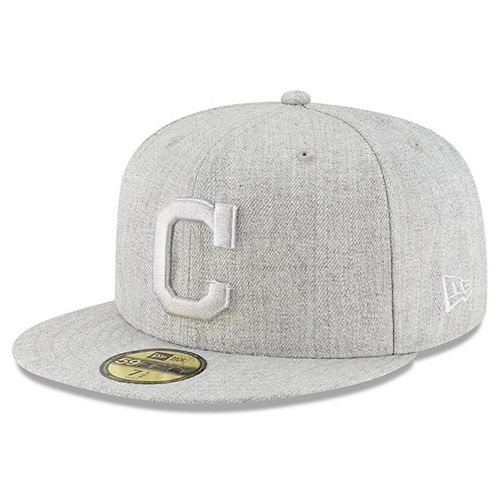 Men's New Era Gray Cleveland Indians Twisted Frame 59FIFTY Fitted Hat