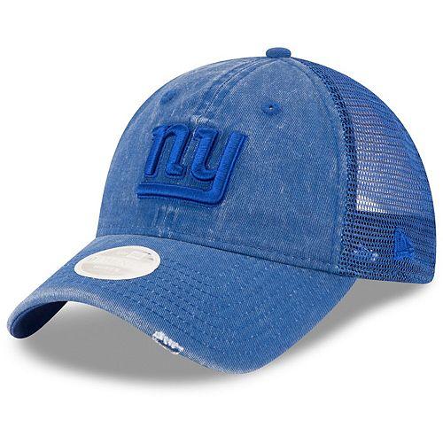 Women's New Era Royal New York Giants Tonal Washed Trucker 9TWENTY Adjustable Hat