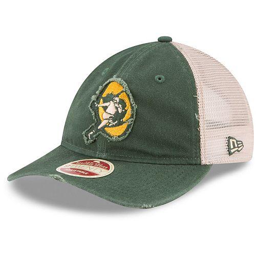 Men's New Era Green/White Green Bay Packers Frayed Twill 9TWENTY Adjustable Hat