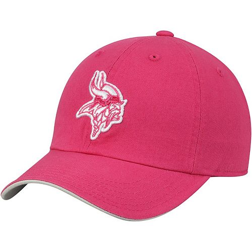 Girls Youth Pink Minnesota Vikings Primary Logo Slouch Adjustable Hat