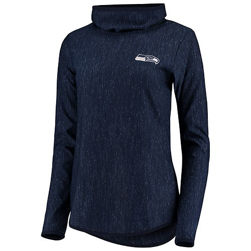 Women's Antigua Heathered College Navy Seattle Seahawks Equalizer Cowl Neck Pullover Sweatshirt