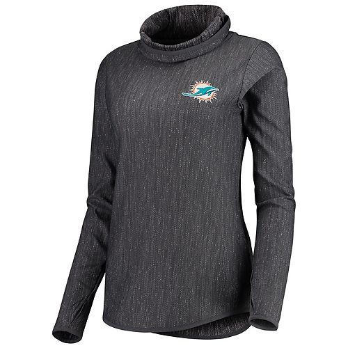 Women's Antigua Heathered Charcoal Miami Dolphins Equalizer Cowl Neck Pullover Sweatshirt