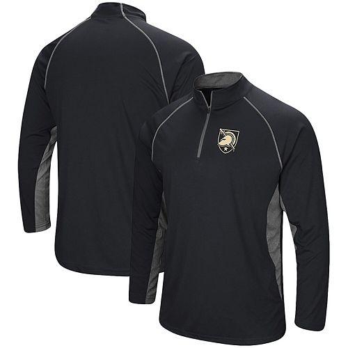 Men's Colosseum Black Army Black Knights Quarter-Zip Windshirt