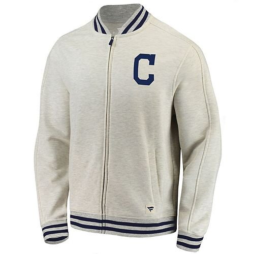 Men's Fanatics Branded Cream Cleveland Indians Heritage Primary Full-Zip Track Jacket