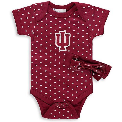 Girls Newborn & Infant Crimson Indiana Hoosiers Hearts Bodysuit and Headband Set