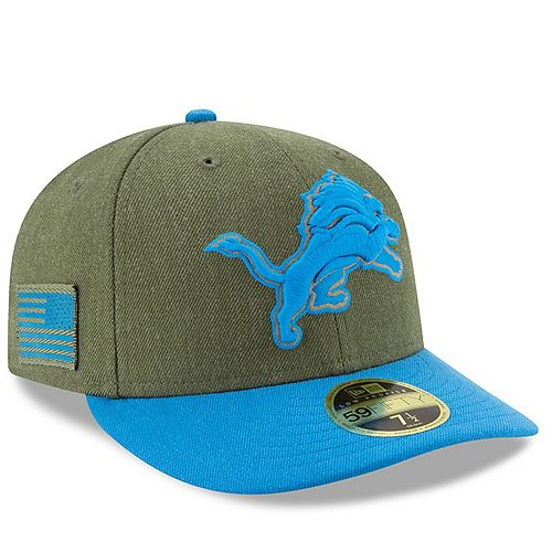 Men's New Era Olive/Blue Detroit Lions 2018 Salute to Service Sideline Low Profile 59FIFTY Fitted Hat