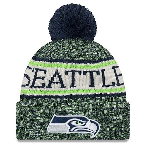 Youth New Era Navy Seattle Seahawks 2018 NFL Sideline Cold Weather Sport Knit Hat