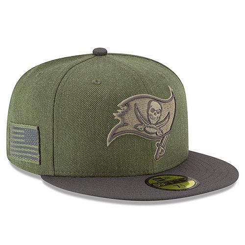 Men's New Era Olive/Pewter Tampa Bay Buccaneers 2018 Salute to Service Sideline 59FIFTY Fitted Hat
