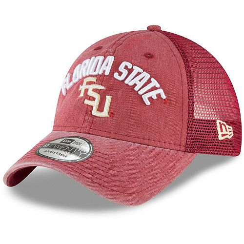 Men's New Era Garnet Florida State Seminoles Rugged Stack Trucker 9TWENTY Adjustable Snapback Hat