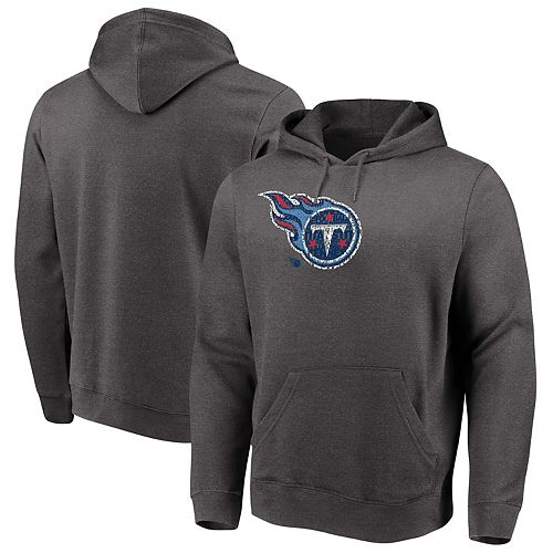 Men's Majestic Heathered Charcoal Tennessee Titans Big & Tall Line of Scrimmage Pullover Hoodie