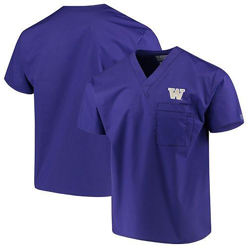 Purple Washington Huskies V-Neck Scrub Top