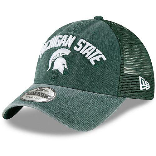 Men's New Era Green Michigan State Spartans Rugged Stack Trucker 9TWENTY Adjustable Snapback Hat
