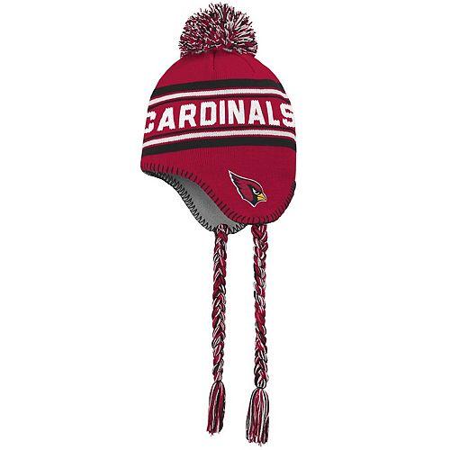 Youth Cardinal/Black Arizona Cardinals Jacquard Tassel Knit Hat with Pom