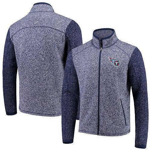 Men's G-III Sports by Carl Banks Heathered Navy Tennessee Titans Alpine Zone Sweater Fleece Full-Zip Jacket