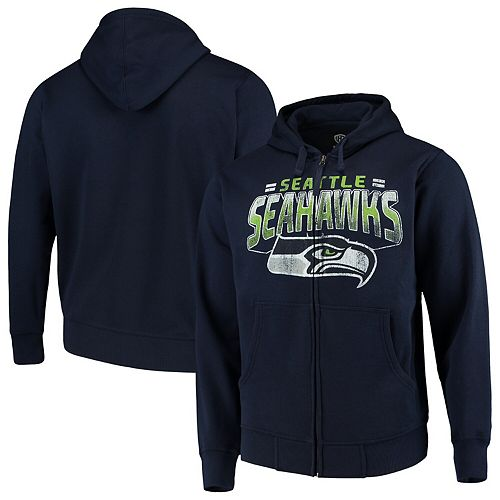 Men's G-III Sports by Carl Banks College Navy Seattle Seahawks Perfect Season Full-Zip Hoodie