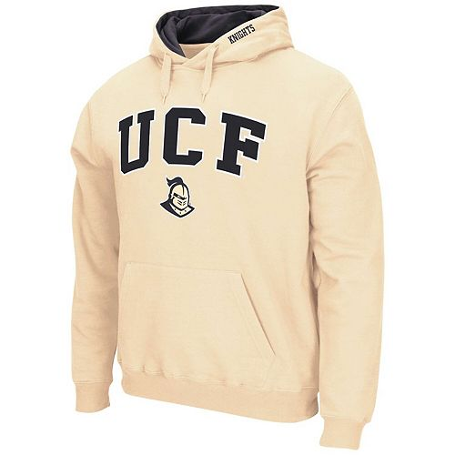 Men's Colosseum Vegas Gold UCF Knights Arch & Logo Tackle Twill Pullover Hoodie
