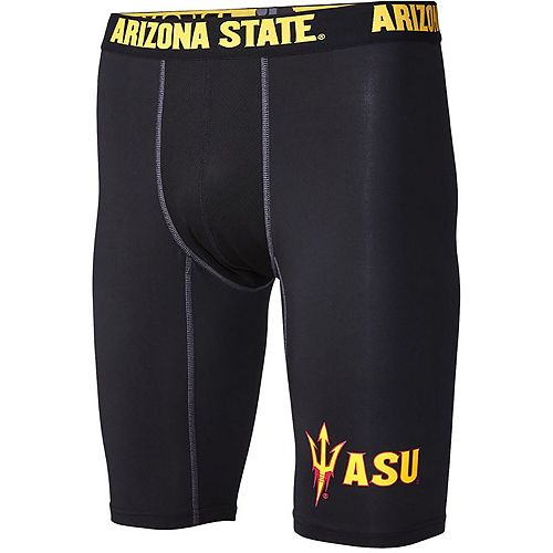 "Men's Black Arizona State Sun Devils Base Layer 9"" Compression Shorts"