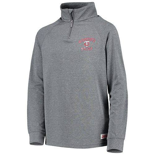 Youth Stitches Heathered Charcoal Minnesota Twins Quarter-Zip Pullover Jacket